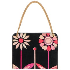 EMILIO PUCCI c.1970's Black Pink & Floral Signature Print Velvet Handbag