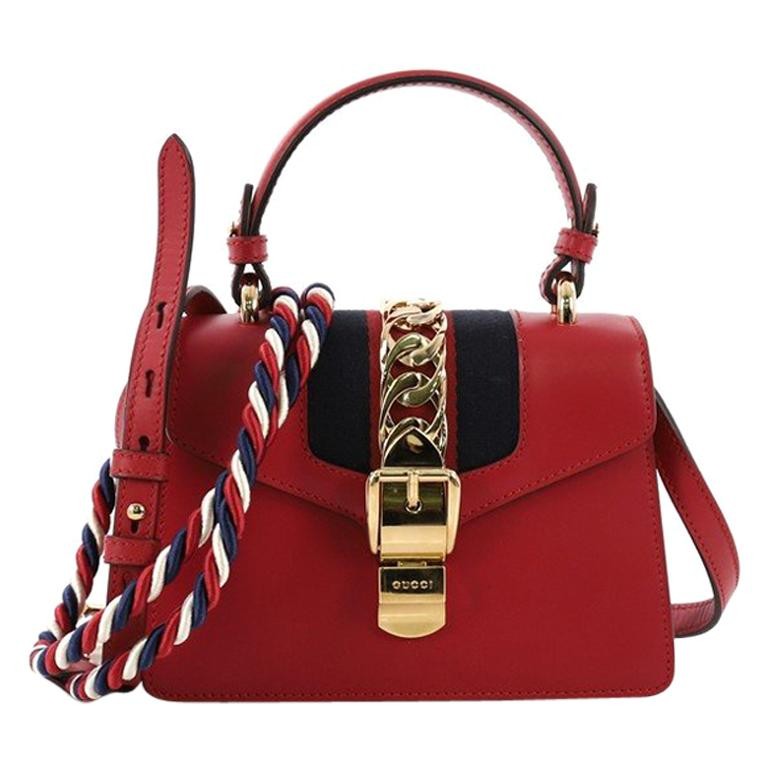 b3f73135b6df Gucci Sylvie Top Handle Bag Leather Mini For Sale at 1stdibs