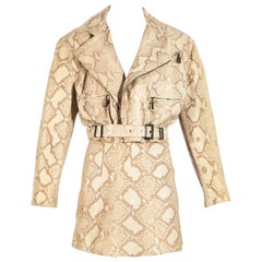 Gianni Versace Snakeskin leather biker jacket and mini skirt set, fw 1994