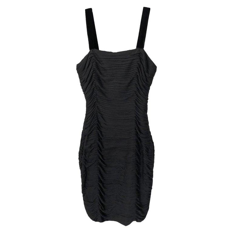 1980s Oscar de la Renta Black Gathered Back Crystal Button Dress For Sale