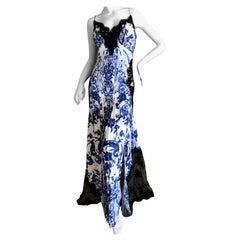 Roberto Cavalli Delft Porcelain Pattern Silk Lace Insert Evening Dress Sz 44