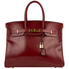 Hermes Birkin35cm Burgundy Box Leather Handbag