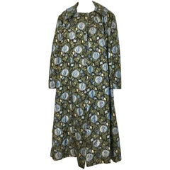 1950s Green and Blue Butterfly Print Brocade  Coat