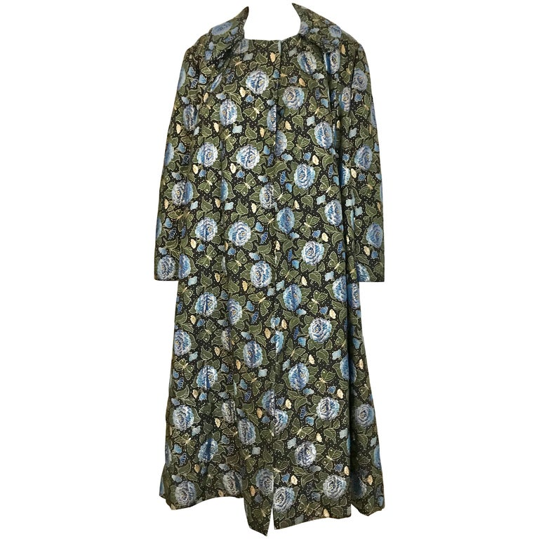 1950s Green and Blue Butterfly Print Brocade  Coat For Sale