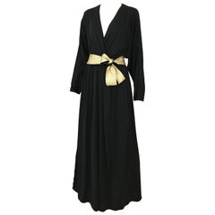 1970s Bill Tice Black Jersey V Neck Dress with Gold Sash
