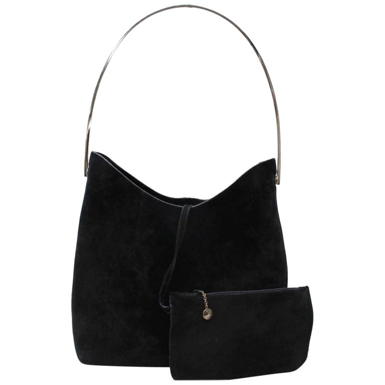 09c6324abbad Gucci Ring Hobo W/ Pouch 866247 Black Suede Leather Shoulder Bag For Sale