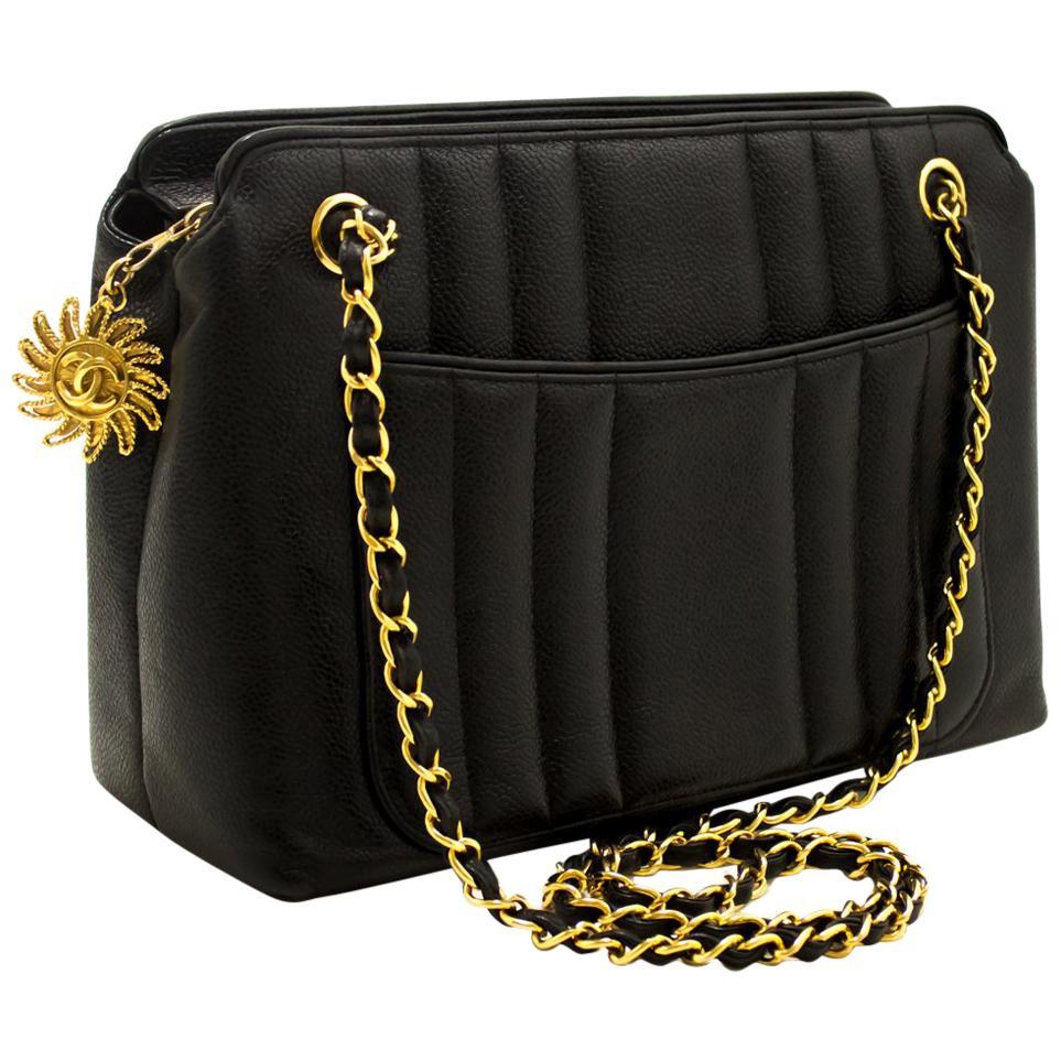 CHANEL Caviar Sun Gold Chain Shoulder Bag
