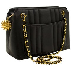 CHANEL Caviar Sun Gold Chain Shoulder Bag Black Quilted Leather