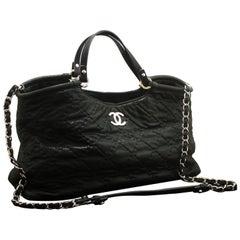 CHANEL 2 Way 2012 Chain Shoulder Bag Handbag Black Quilted Coated