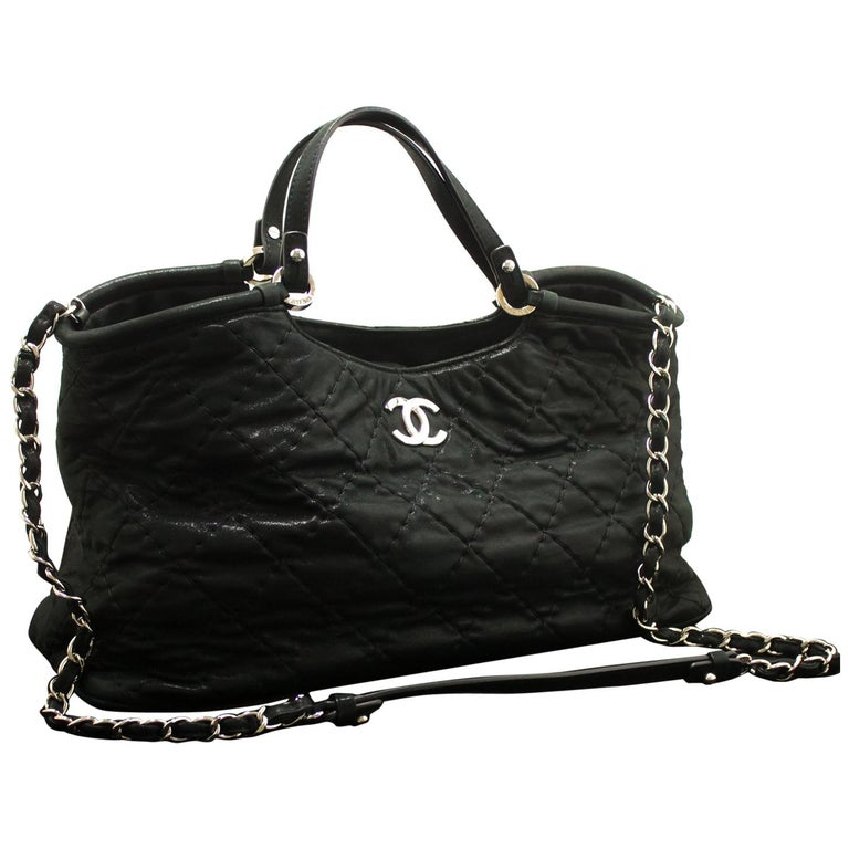 e5afcb2d0291 CHANEL 2 Way 2012 Chain Shoulder Bag Handbag Black Quilted Coated For Sale