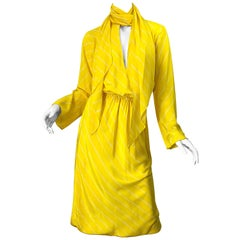 1970s Halston Canary Yellow + White Chevron Striped Bell Sleeve 70s Scarf Dress