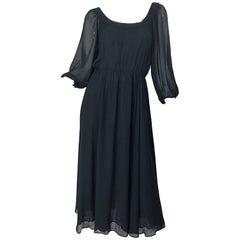 Vintage Oscar de la Renta 1970s Black Silk Chiffon Crepe Boho 70s Midi Dress