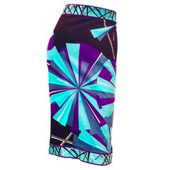 Vintage Emilio Pucci 1990s Size 10 Velvet Kaleidoscope High Waist Pencil Skirt