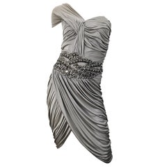 Zuhair Murad Couture 2000s Beige Taupe Beade One Shoulder Grecian Cocktail Dress