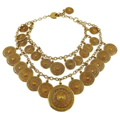 Yves Saint Laurent YSL Two Tiered Ethnic Aztec Disc Medallion Charm Necklace