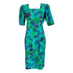 1980s Emanuel Ungaro Floral Green Cotton Long Sheath Dress