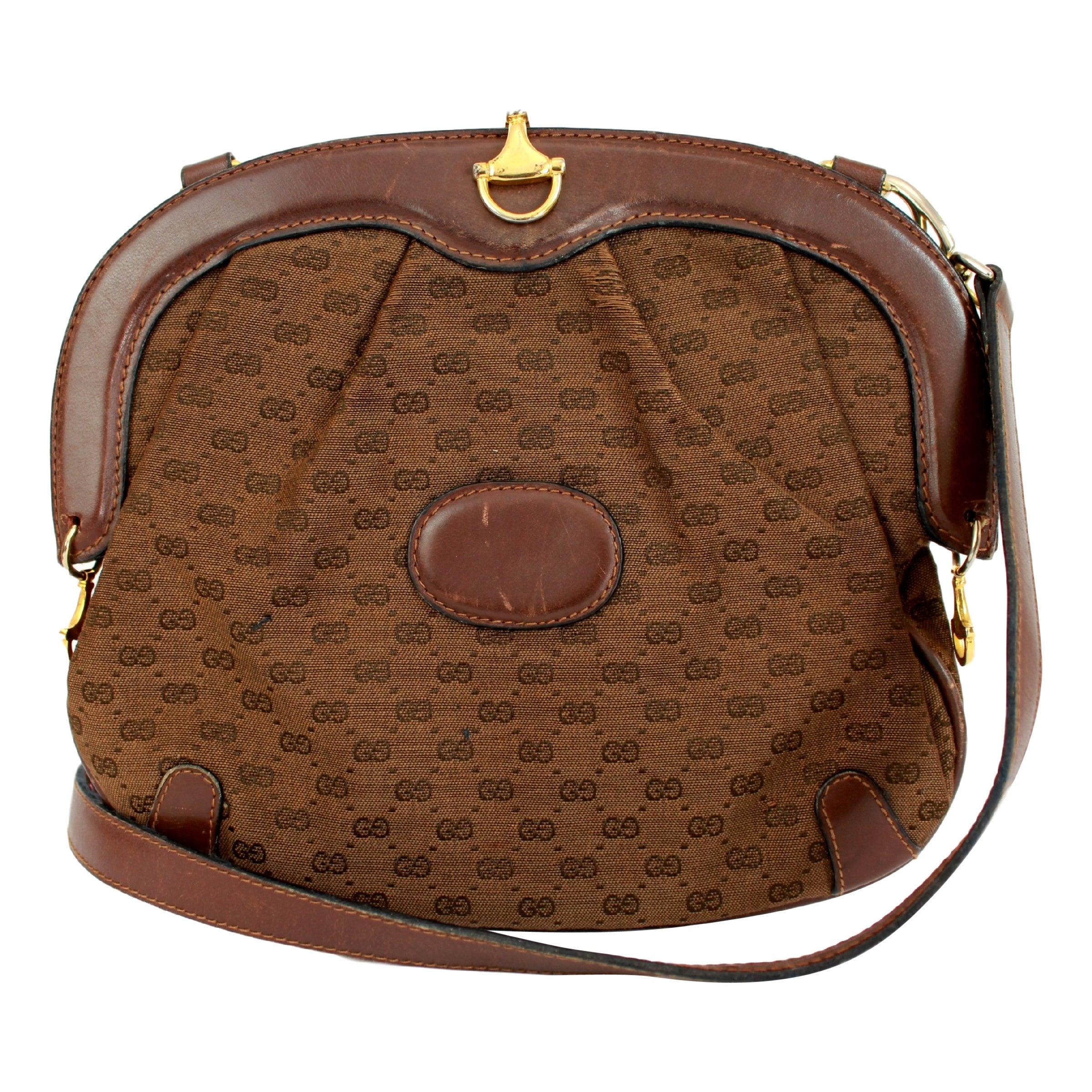 7bd4c1c5f7c69 1980s Gucci Letaher Canvas Brown Clutch Monogram Shoulder Bag