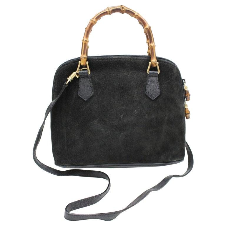 dcb0d86fcf4f Gucci Bamboo 2way Satchel 865746 Black Suede Leather Shoulder Bag For Sale