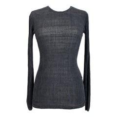 1980s Valentino Boutique Silk Black Shirt Crew Neck
