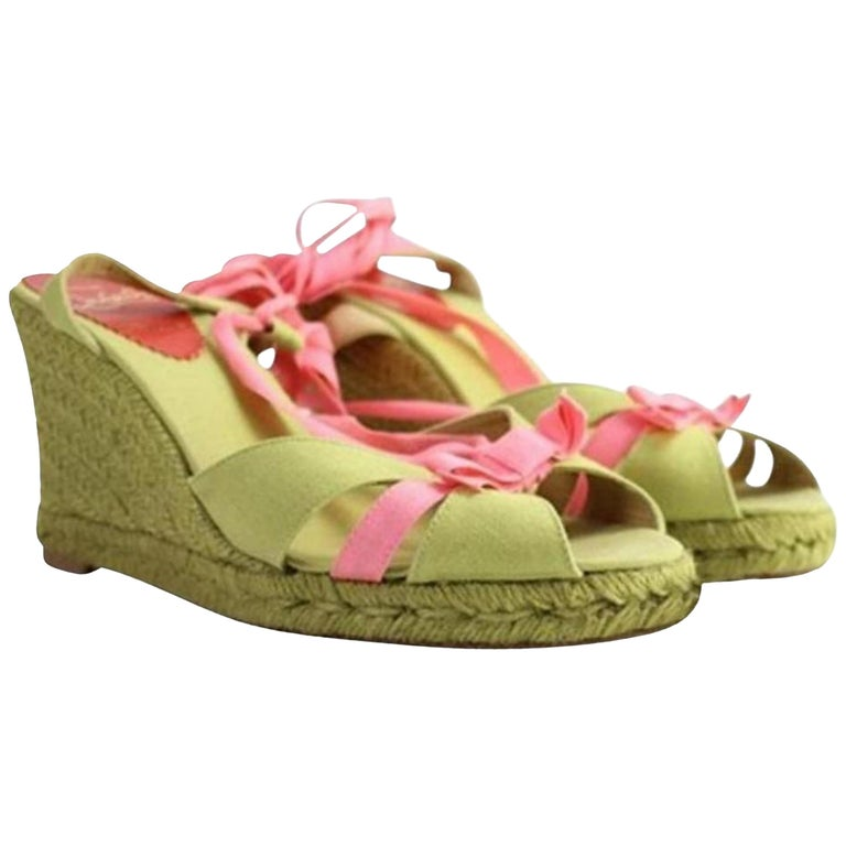 17eeada47de6 Christian Louboutin Green X Pink Isabelle Espadrille 60cla1014 Wedges For  Sale
