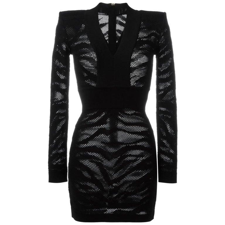 Balmain Zebra-Print Cotton Mini Dress  For Sale