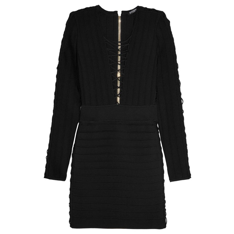 0374e171 Balmain Lace-Up Ribbed Stretch-Knit Mini Dress For Sale at 1stdibs