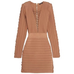 Balmain Lace-Up Ribbed Stretch-Knit Mini Dress