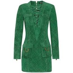 Balmain Lace-Up Woven Suede Mini Dress