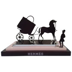 Hermès Logo Carriage Coachman And Horse In Metal Display