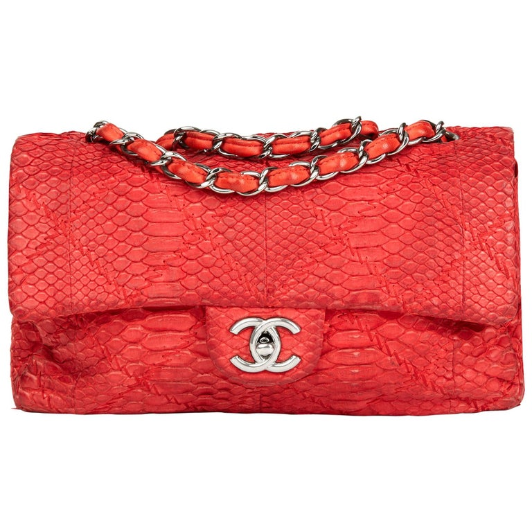 ea0f43331a9 2010 Chanel Red Heavy-Stitch Quilted Python Leather Classic Single Flap Bag  For Sale