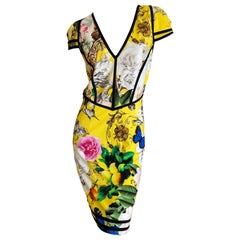 Roberto Cavalli Chinoiserie Floral Butterfly Pattern Dress  Sz 44 NWT