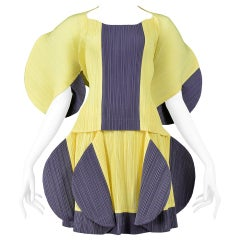 Vintage Issey Miyake Pleats Please Yellow & Grey Blouse & Skirt Ensemble