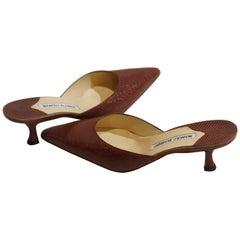 Manolo Blahnik Lizard Skin Mule Shoes