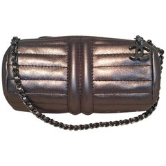 Chanel Gunmetal Leather Quilted Tube Wristlet Pouch Bag