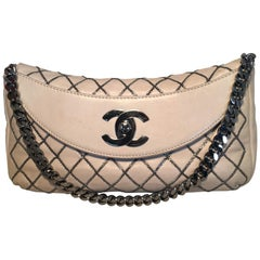 Chanel Beige Leather Gunmetal Chain Quilted Classic Flap Shoulder Bag