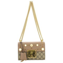 a9ccb9c44e88 Gucci Pearly Padlock Shoulder Bag GG Coated Canvas with Studded Leather  Small