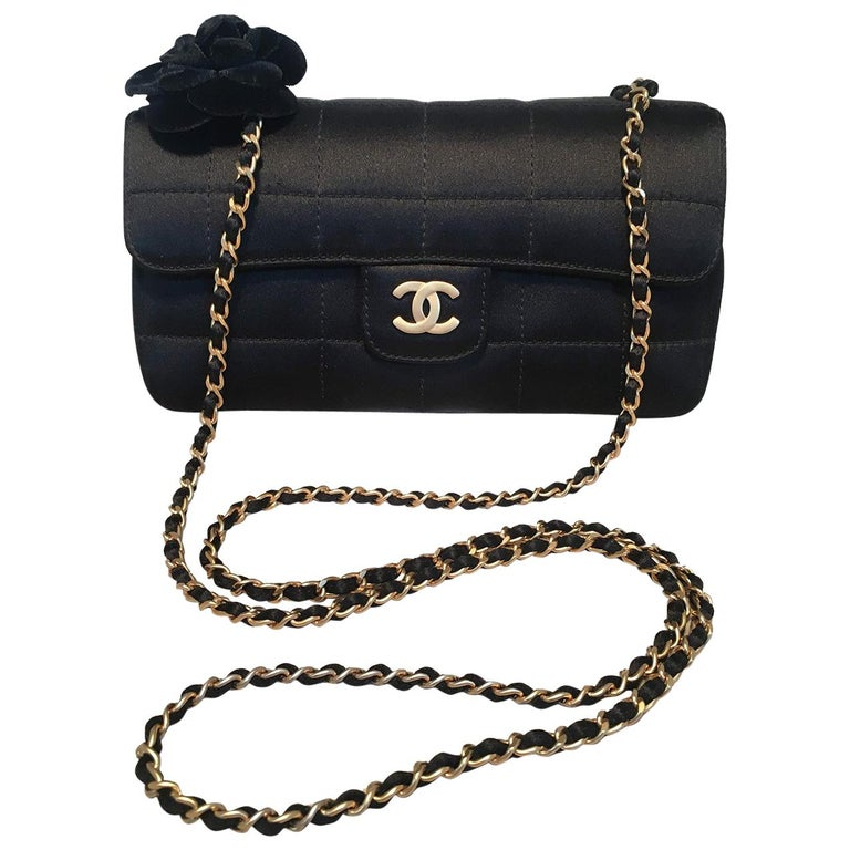 eb2dd6b6a5e353 Chanel Quilted Black Silk Mini Camellia Classic Flap Shoulder Bag For Sale