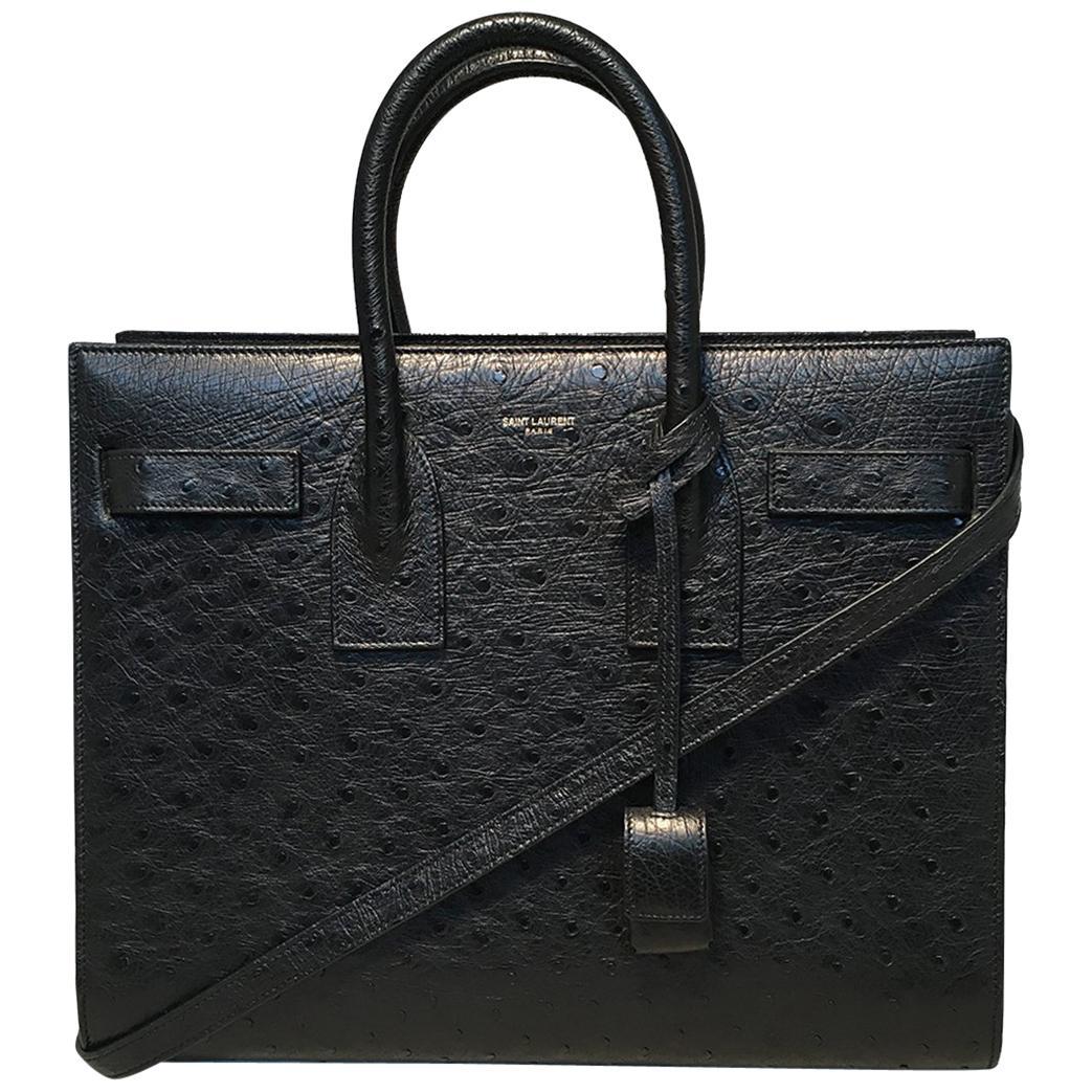 NWOT YSL Yves Saint Laurent Black Ostrich Small Sac Du Jour Handbag