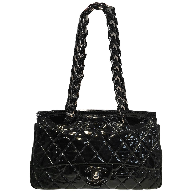 Chanel Black Patent Leather 2 way Classic Flap Shoulder Bag