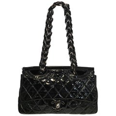 Chanel Black Patent Leather 2 way Classic Flap Shoulder Bag