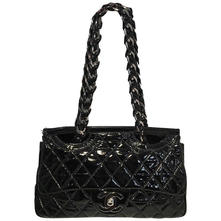 Chanel Black Patent Leather 2 way Classic Flap Shoulder Bag  For Sale