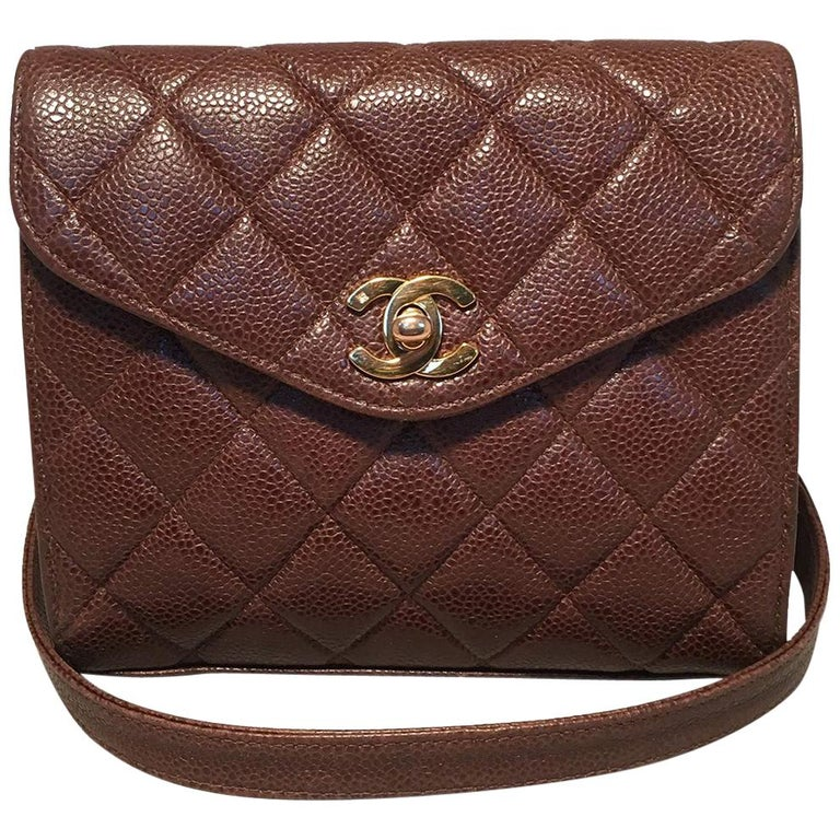 1cacd0c4b53341 Chanel Vintage Quilted Brown Caviar Leather Crossbody Shoulder Bag For Sale