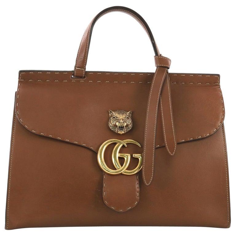 51b82966e523e3 Gucci GG Marmont Animalier Top Handle Bag Leather Medium at 1stdibs