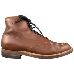 ALDEN Size 9.5 Brown Contrast Stitch Leather Lace Up Indy Boots