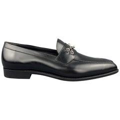 BARKER BLACK Size 12.5 Black Leather Cross Bones Slip On WOLFE Loafers