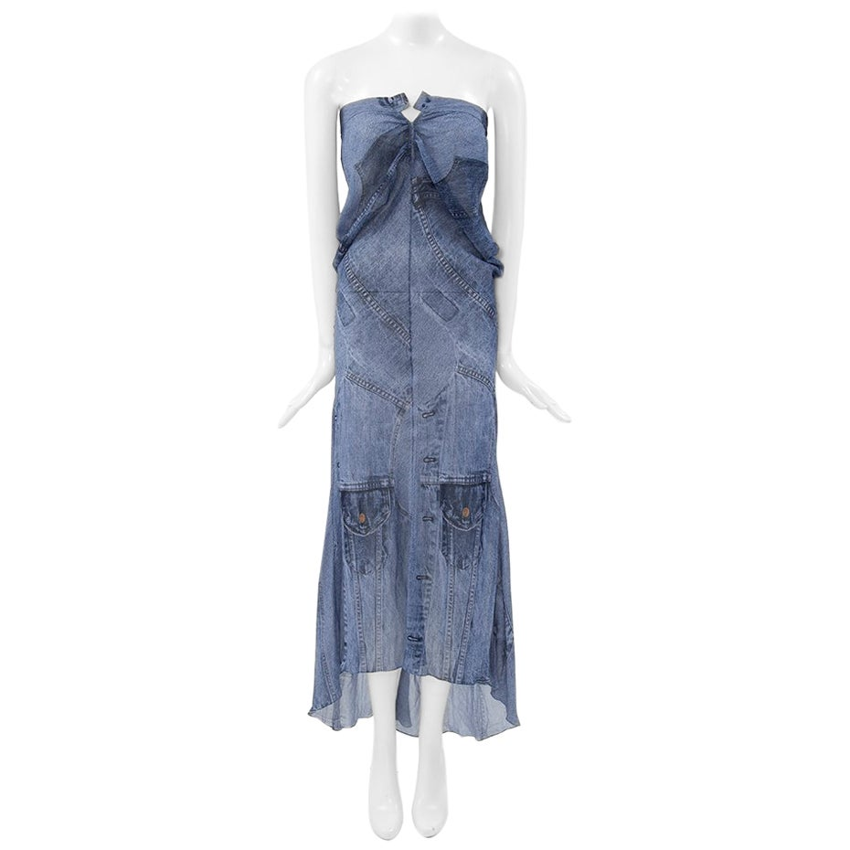 Christian Dior by John Galliano Trompe L'Oeil Denim Dress or Maxi Skirt, SS2000