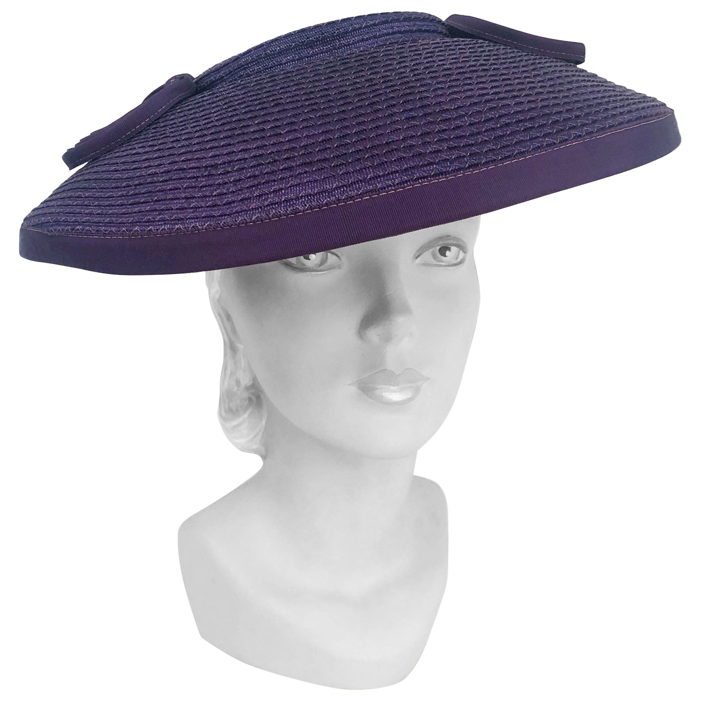 1930's Purple Coated Straw Hat with Loop Accents
