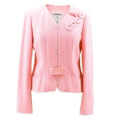 """Chanel Pink """"Coco"""" Tweed Jacket FR40"""
