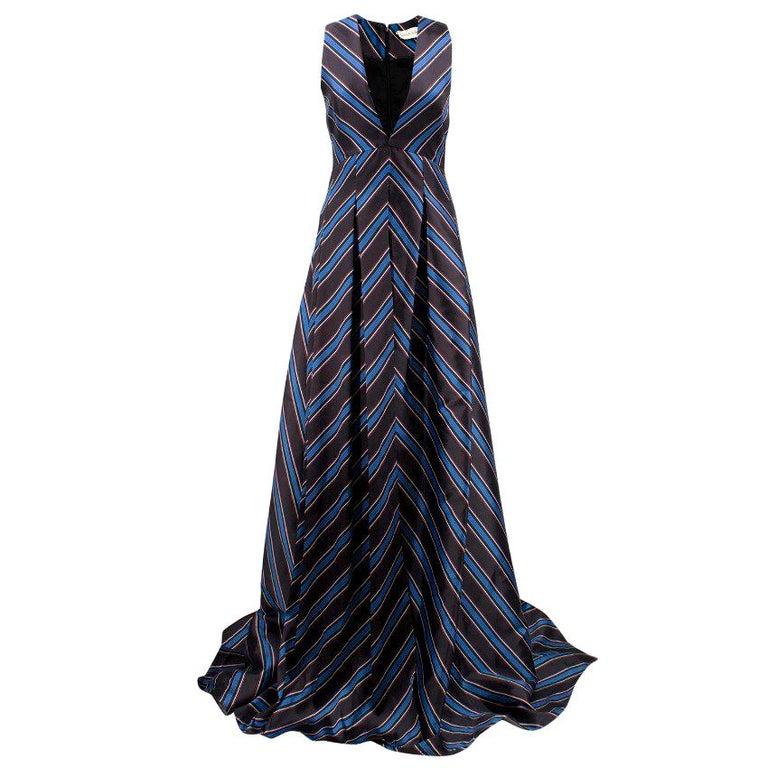 Sachin & Babi Striped Satin-Twill Gown -Estimated UK Size Small