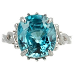 6.7 Carat Natural Blue Cambodian Zircon Sterling Silver Ring